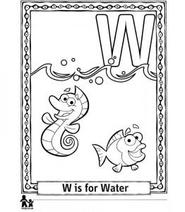 kleurplaat W Water = Water