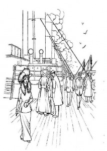 coloring page Walking on the sun deck