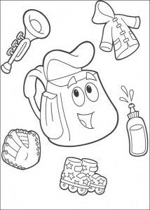 coloring page What's in backpack
