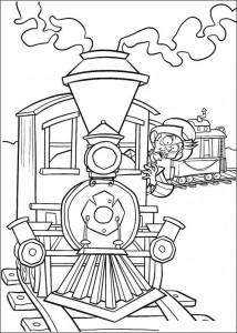 kleurplaat Wesley in de trein