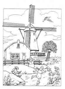 coloring page Windmills (2)