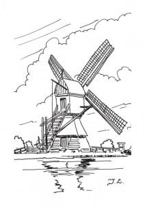 kleurplaat Windmolens (3)