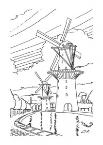 kleurplaat Windmolens (5)