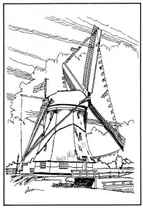 coloring page Windmills (8)