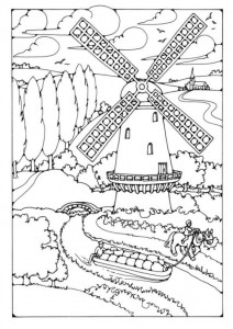 coloring page Windmills (9)