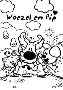 kleurplaat Woezel en Pip (5)