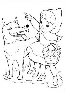kleurplaat Wolf wijst de weg