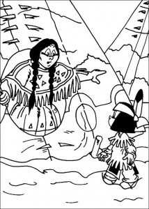 coloring page Yakari and his mother