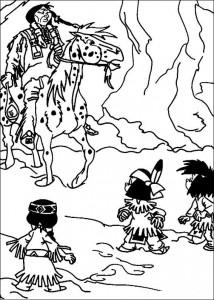 kleurplaat Yakari en zijn vriendjes