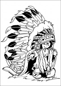 coloring page Yakari with adornment
