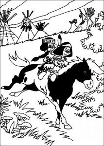 kleurplaat Yakari te paard
