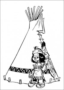 coloring page Yakari for the teepee