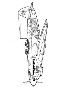 coloring page Yakolev Yak-9D 1942