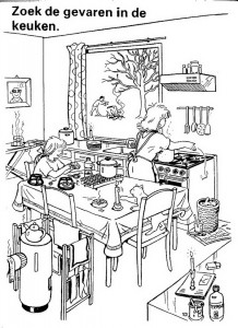 coloring page Find the dangers in the kitchen