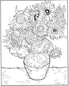coloring page Sunflowers 1888